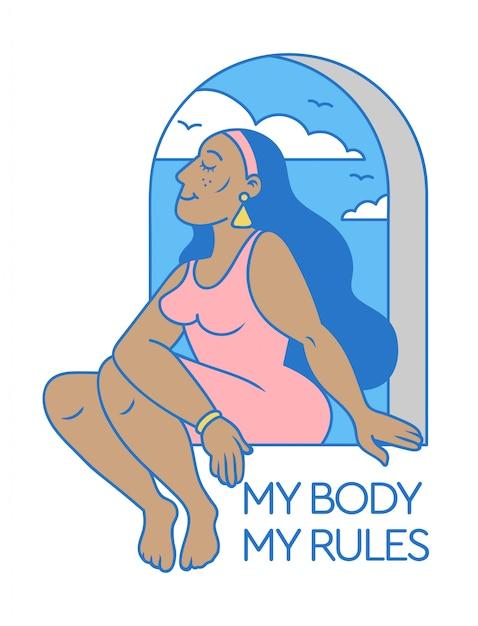 Desenho animado bonito e beleza mulher negra sentada na janela com o slogan de positividade do corpo