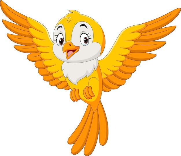 Desenho animado bonito pássaro amarelo voando Vetor Premium