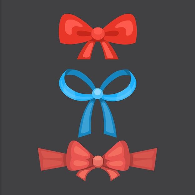 Desenho animado bonito presente arcos com fitas. gravata borboleta colorida. Vetor Premium