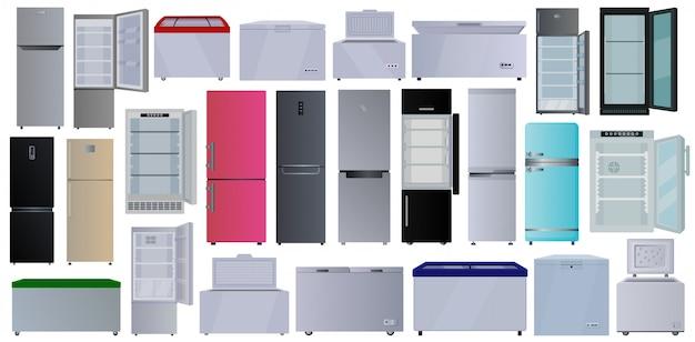 Desenho animado congelador definir ícone. geladeira ilustração sobre fundo branco. desenhos animados definir ícone congelador. Vetor Premium