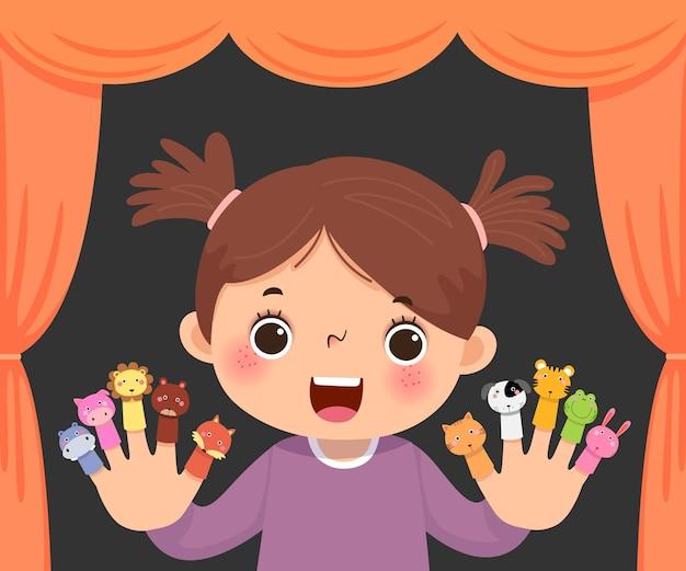 Desenho animado da menina jogando teatro de fantoches de dedo de animal. Vetor Premium