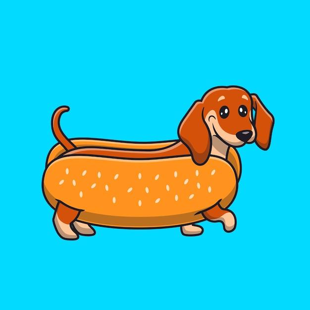 Desenho animado de cachorro-quente dachshund fofo Vetor grátis