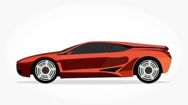 desenho animado de carros sedan de laranja com efeito lado e sombra