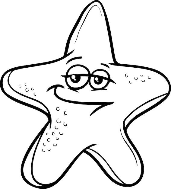 Desenho Animado De Estrela Do Mar Para Colorir Vetor Premium