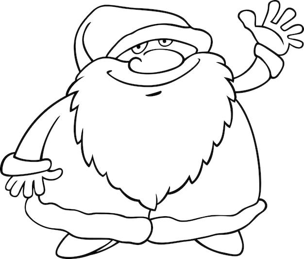 Papai Noel E Grande Presente Para Colorir Livro Vetor Premium