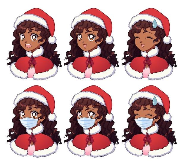 Desenho animado de uma garota africana usando fantasia de natal e máscara médica Vetor Premium