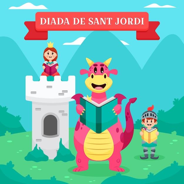 Desenho animado diada de sant jordi ilustração com cavaleiro e princesa e dragão com livro Vetor grátis