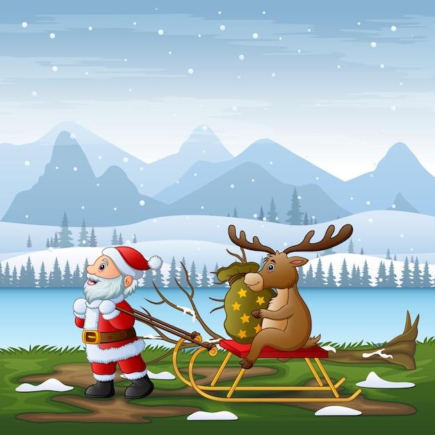 Desenho animado do papai noel puxando uma rena em um trenó em uma paisagem de inverno Vetor Premium