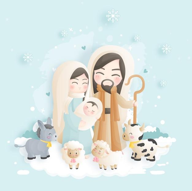 Desenho animado do presépio de natal, com o menino jesus, maria e josé na manjedoura com burros e outros animais. ilustração religiosa cristã. Vetor Premium