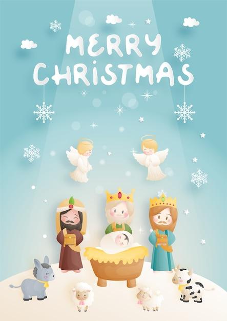 Desenho animado do presépio de natal, com o menino jesus na manjedoura com 3 reis magos, burro e outros animais. religiosa cristã Vetor Premium