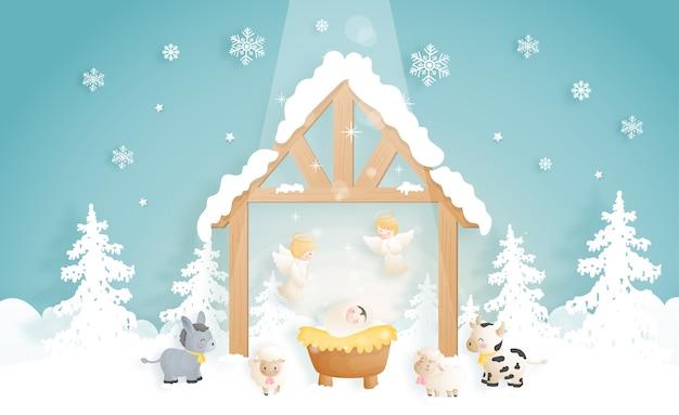 Desenho animado do presépio de natal, com o menino jesus na manjedoura com anjos, burros e outros animais. religiosa cristã Vetor Premium