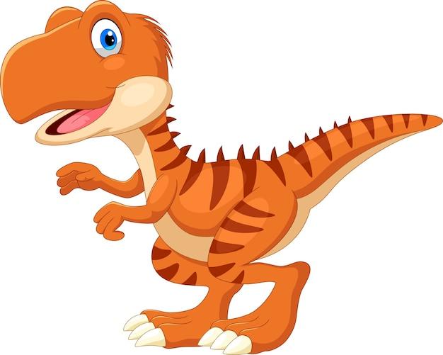 Desenho animado do tiranossauro feliz Vetor Premium