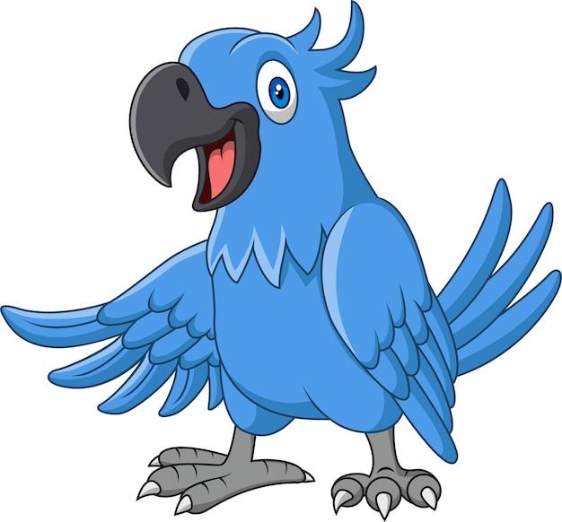 Desenho animado engraçado arara azul isolada no branco Vetor Premium