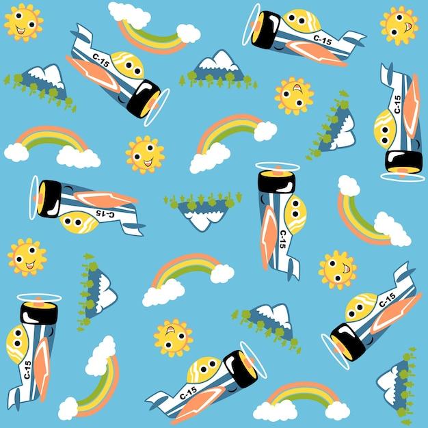 Desenho animado engraçado, sol, montanha, arco íris, nuvem, vetor de padrão Vetor Premium