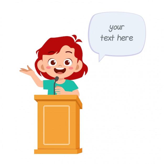 Desenho animado feliz menina criança falar no pódio Vetor Premium
