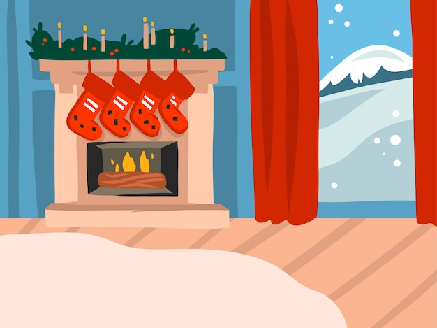 Desenho animado feliz natal e feliz ano novo ilustrações festivas Vetor Premium