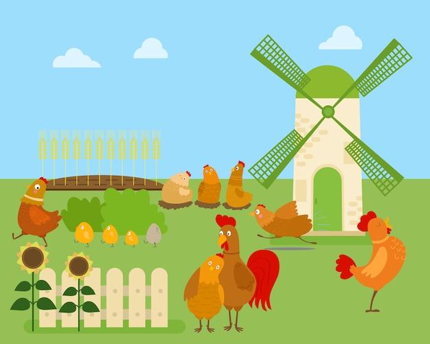 Desenho animado frango, galinha e galo em várias poses Vetor Premium