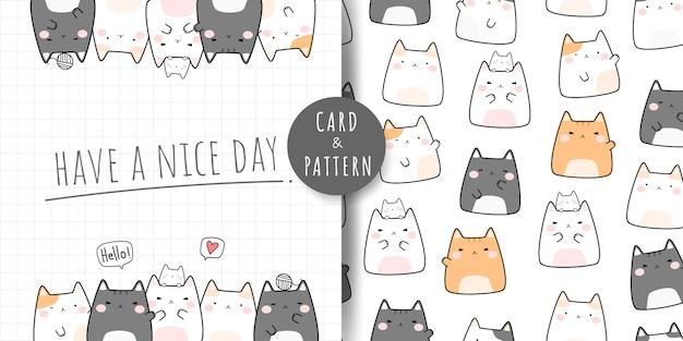 Desenho animado gato gordinho bonito doodle padrão sem emenda e cartão Vetor Premium