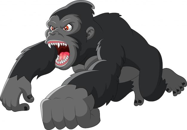 Desenho animado grande gorila estava com raiva Vetor Premium