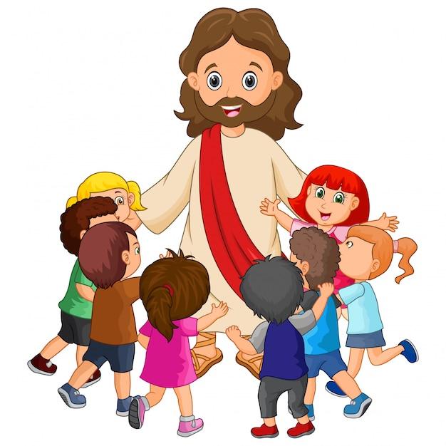 Desenho animado jesus christus com crianças Vetor Premium