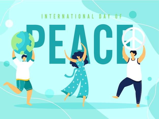 Desenho animado jovem e meninos dançando, globo terrestre, simbolismo da paz na luz turquesa de fundo para o dia internacional da paz. Vetor Premium
