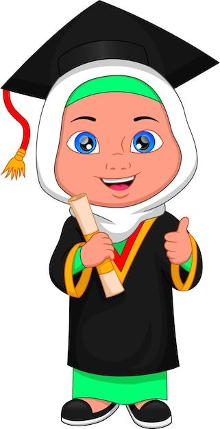 Desenho animado muçulmano fantasiado de formatura Vetor Premium