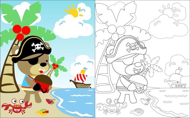Desenho animado pirata bonito na ilha do tesouro Vetor Premium