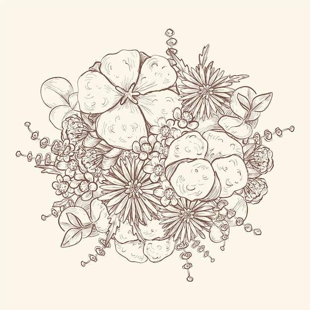 Desenho artístico de buquê vintage Vetor grátis