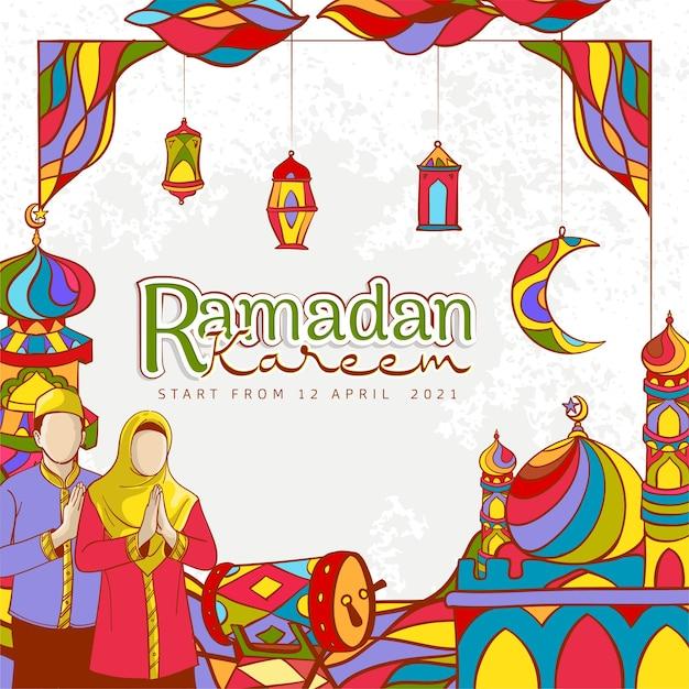Desenho banner ramadan kareem com ornamento islâmico colorido na textura do grunge Vetor grátis
