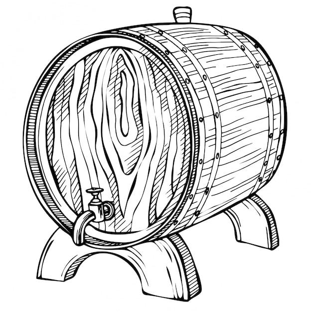 Desenho barril de madeira. mão desenhada ilustração vintage em estilo gravado. álcool, vinho, cerveja ou uísque velho barril de madeira, barril. Vetor Premium