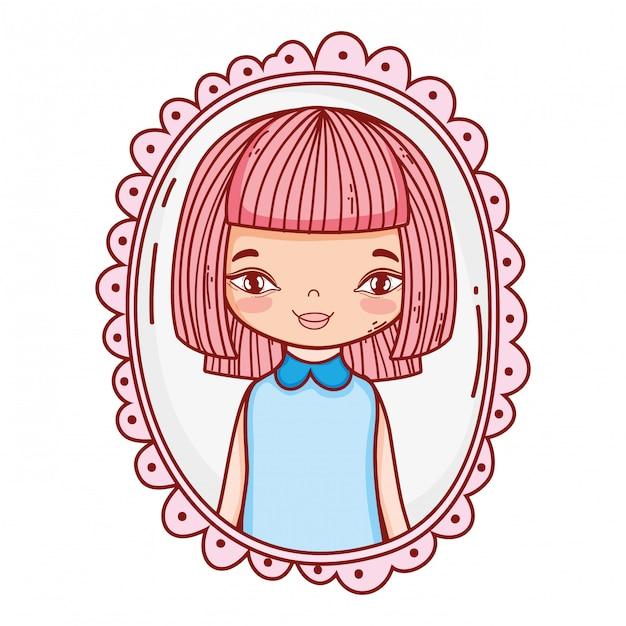 Desenho bonito de menina Vetor Premium
