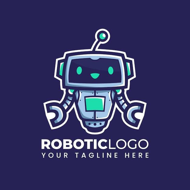 Desenho bonito flutuador robô ilustração bot mascote logo design Vetor Premium