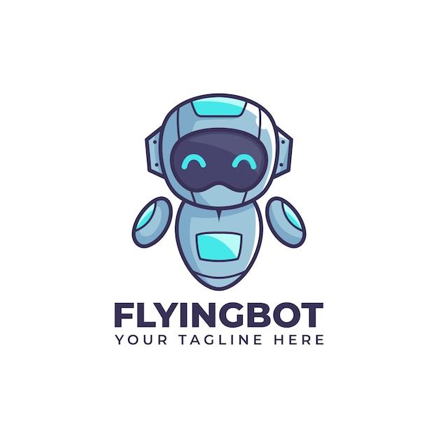 Desenho bonito voando flutuador robô ilustração bot mascote logo design Vetor Premium