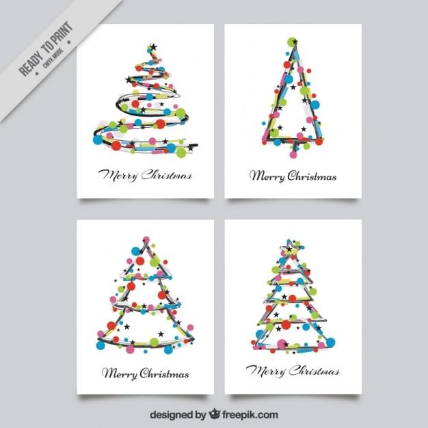 Desenho Cartões De Natal Com Círculos Coloridos Vetor Grátis