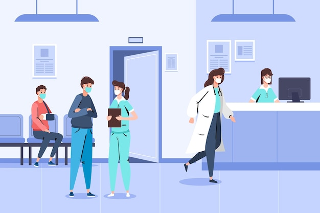 Desenho cena de recepção de hospital com pessoas usando máscaras médicas Vetor grátis