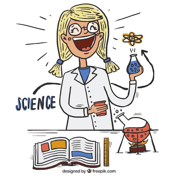 desenho cientista feliz no laboratório baixar vetores grátis