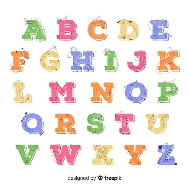 Desenho coleção com alfabeto animal Vetor grátis
