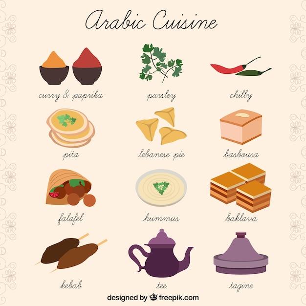 Desenho coleção cozinha árabe Vetor grátis