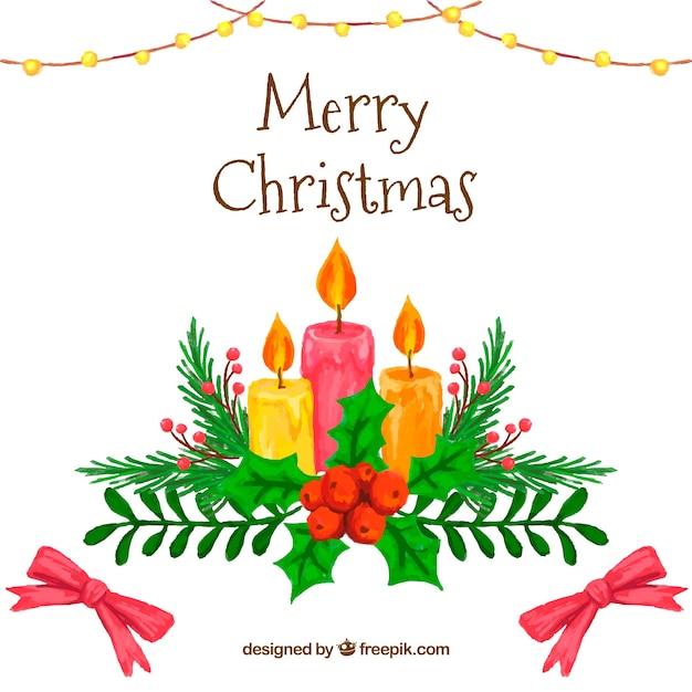 Desenho Colorido Colorido Com Velas De Natal Vetor Grátis