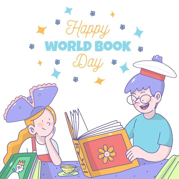 Desenho com o conceito de dia mundial do livro Vetor grátis