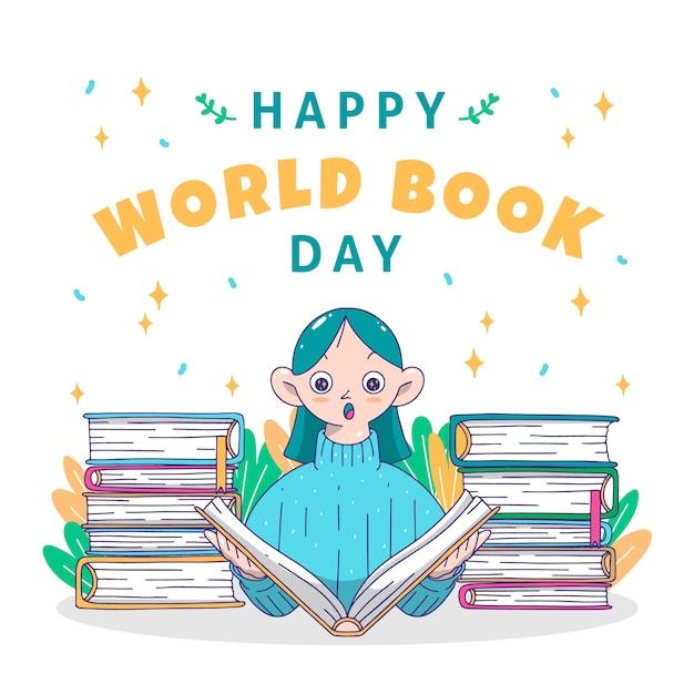 Desenho com o dia mundial do livro Vetor grátis
