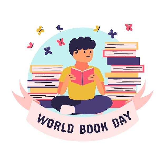 Desenho com tema do dia mundial dos livros Vetor grátis