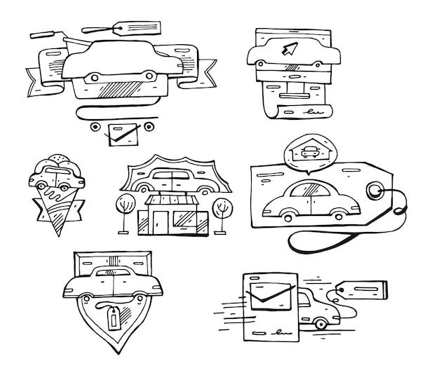 Desenho conjunto de ícones, emblemas e elementos do logotipo do carro. Vetor Premium