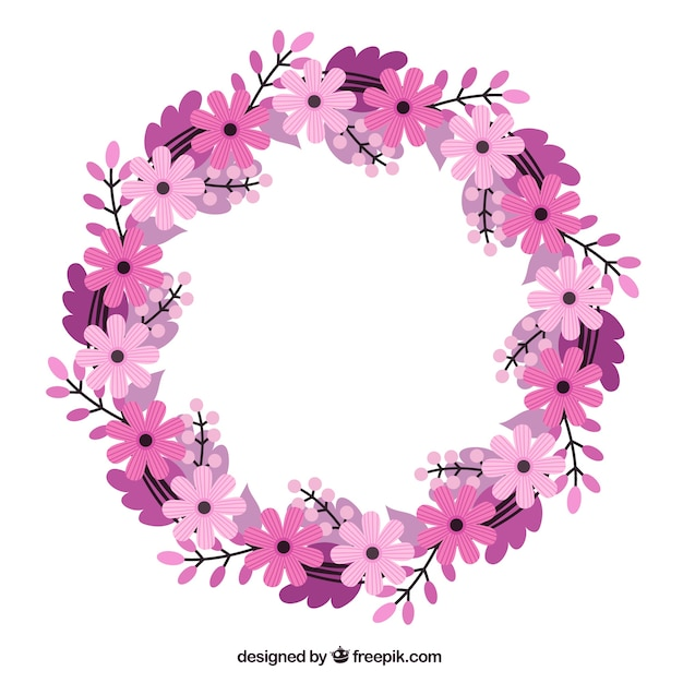 desenho coroa de flores em tons rosa e roxo baixar vetores premium