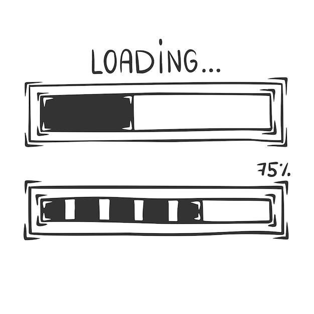 Desenho da barra de carregamento, isolado no fundo branco. Vetor Premium