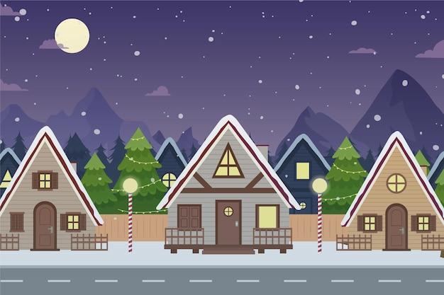 Desenho da cidade natal durante a noite Vetor grátis
