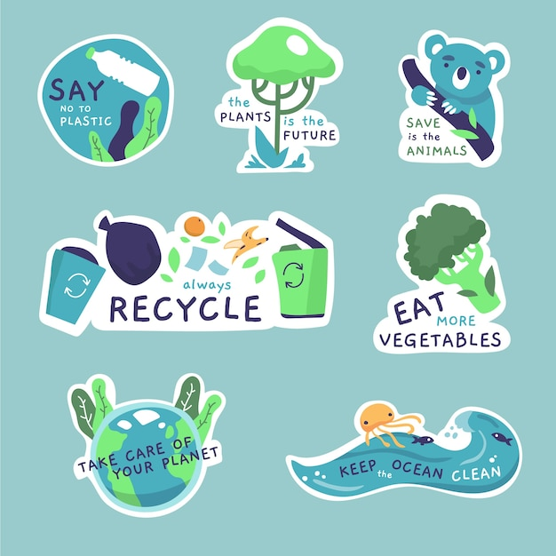 Desenho da coleção de emblemas de ecologia Vetor grátis