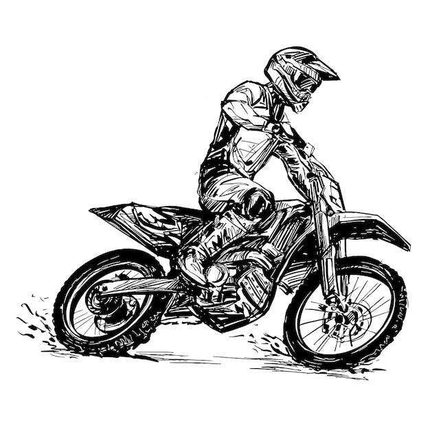 Desenho da competição de moto Vetor Premium