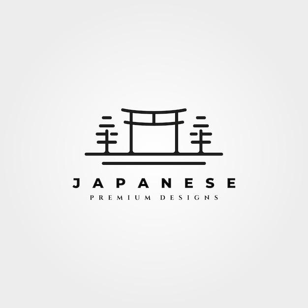 Desenho da linha do logotipo do templo torii gate Vetor Premium