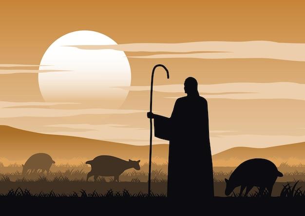 Desenho da silhueta de jesus cristo dito sobre o pastor Vetor Premium